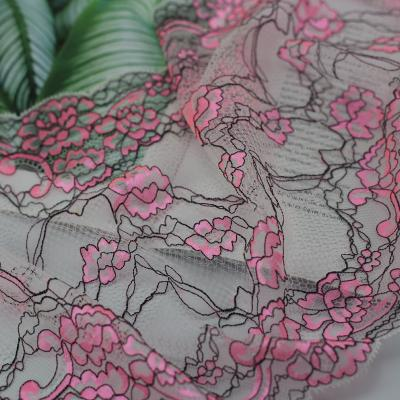 Double Color Elastic Jacquard Rayon Lace